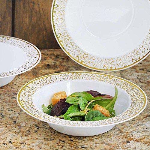 Efavormart 50 Pcs - White with Gold Trimmed 12oz Round Disposable Plastic Bowl - Lace Design