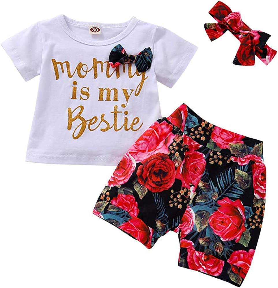 Newborn Clothes for Girls Baby Cotton Ruffle Short Sleeve Romper Bodysuit Floral Pants with Headband Outfits Sets for Summer