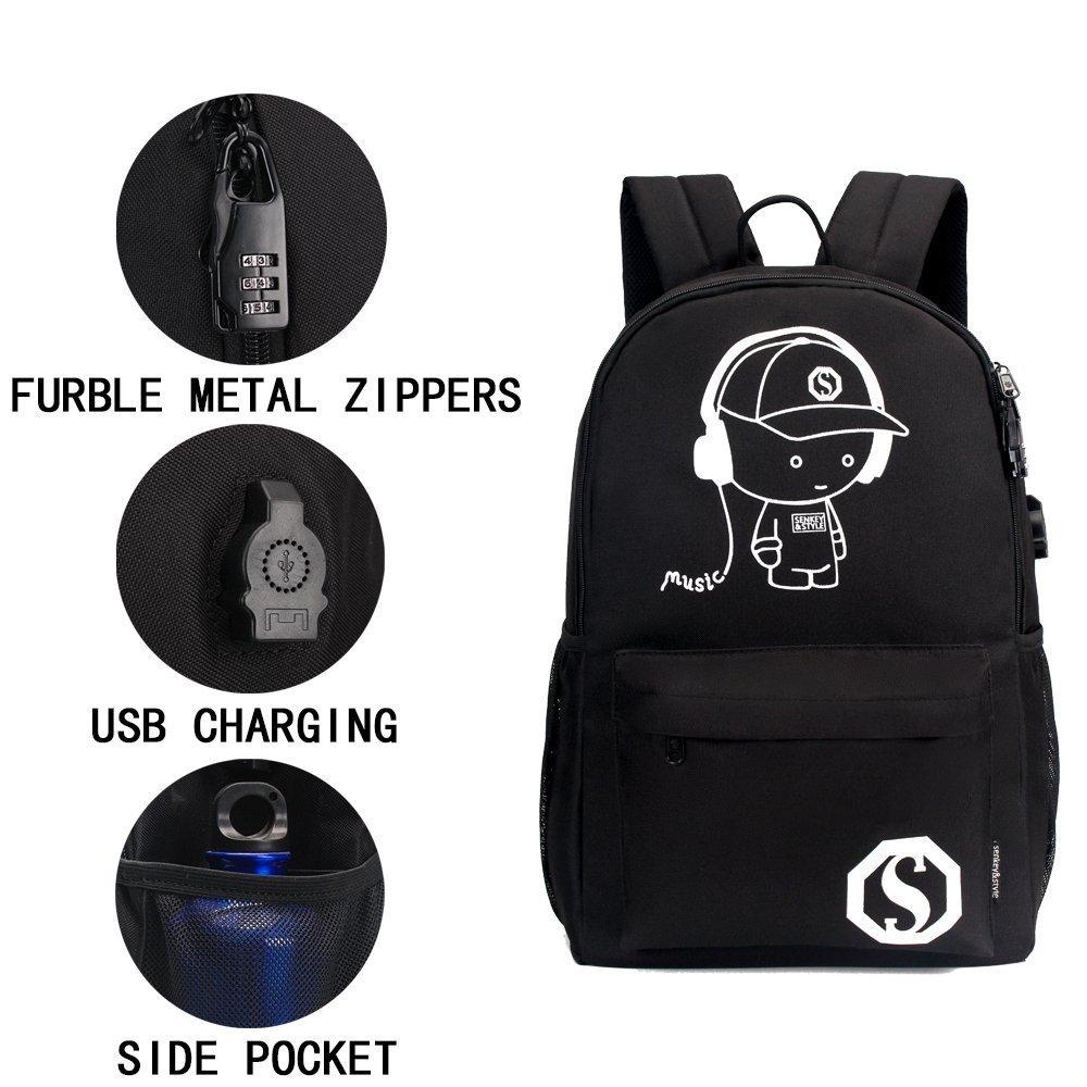 YYCB Anime Luminous Black Backpack Noctilucent School Bags Daypack USB chargeing port Laptop Bag Handbag For Girls Boys Men Women by YYCB (Image #2)