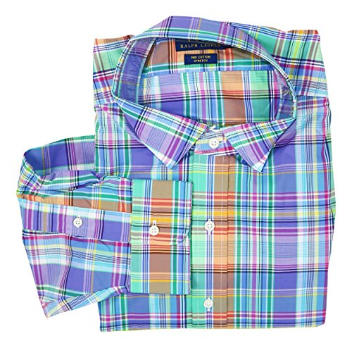 Polo Ralph Lauren Plaid Button Down Long Sleeve Shirt (Blue/Orange, 2XB) Ralph Lauren Wedding