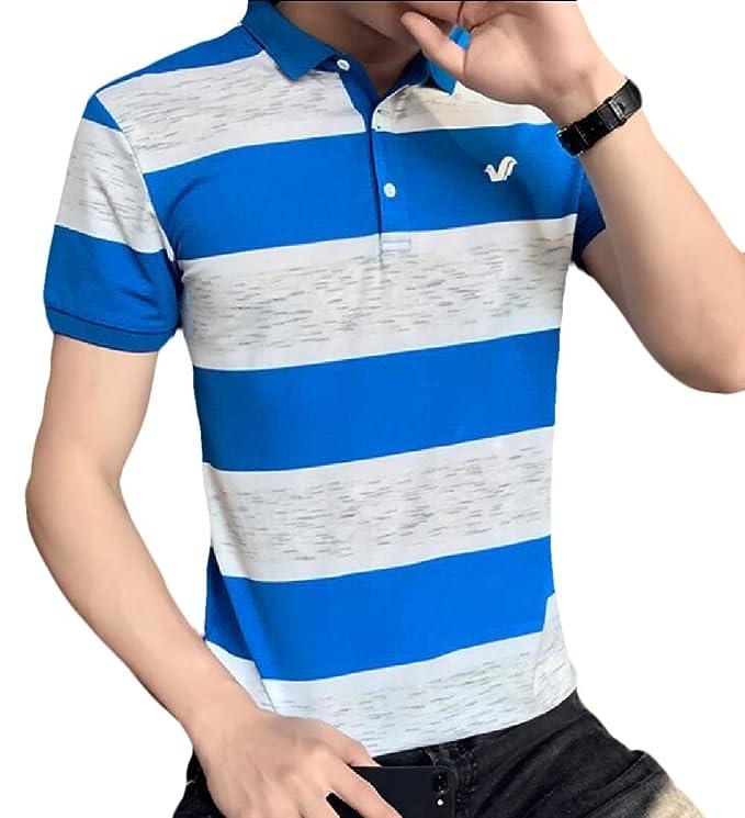 xiaohuoban Men Casual Slim Fit Shirts Short Sleeve Business Shirt
