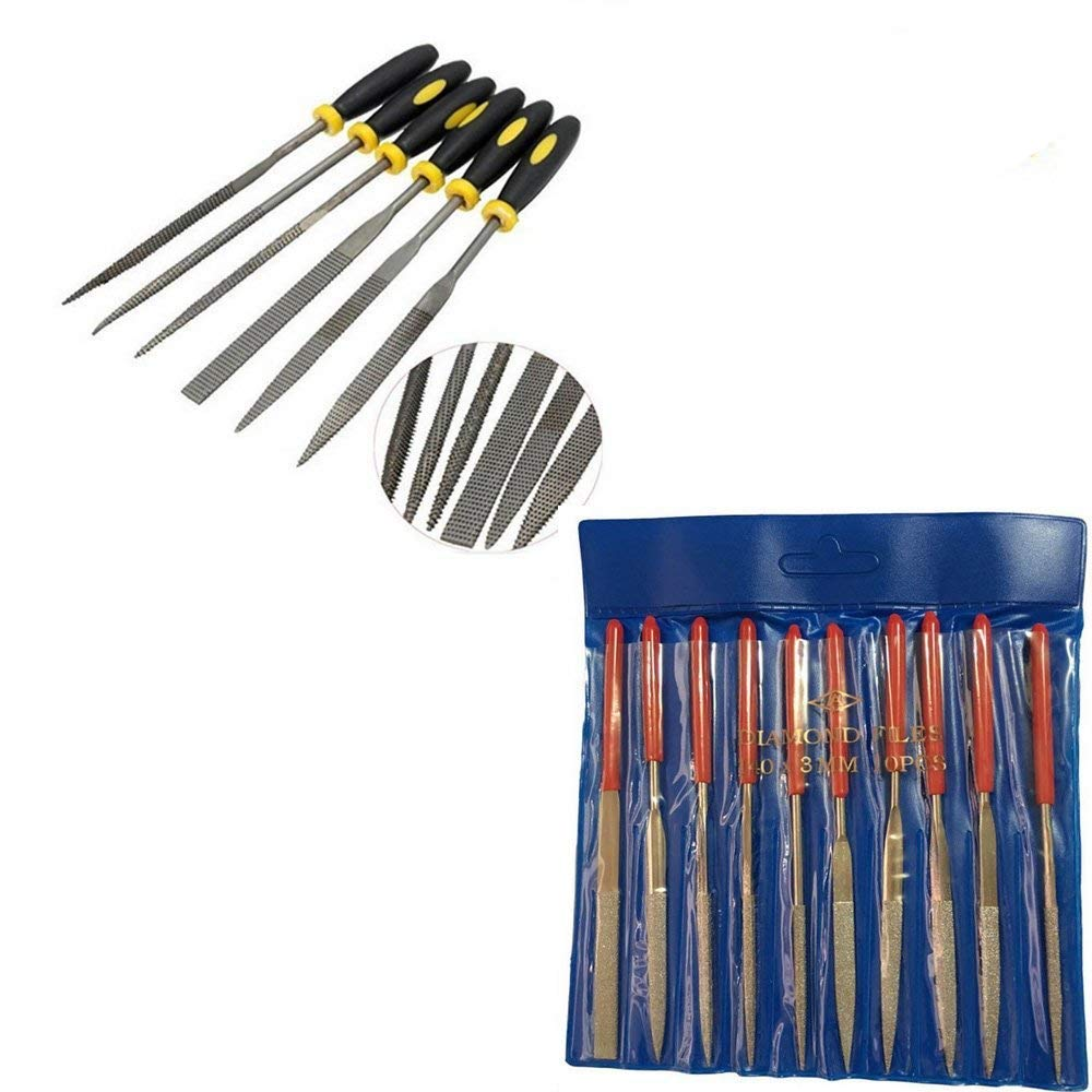 10 Pcs Diamond Needle File Set and 6 Pcs Mini Assorted Hand File Wood RASP with Rubber Hand Grip Handles(4x160mm) YFMD