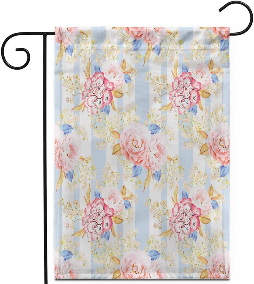 """Awowee 12""""x18"""" Garden Flag Blue Aroma Pink Roses Bouquet Watercolor Shabby Chic Red Bloom Outdoor Home Decor Double Sided Yard Flags Banner for Patio Lawn"""