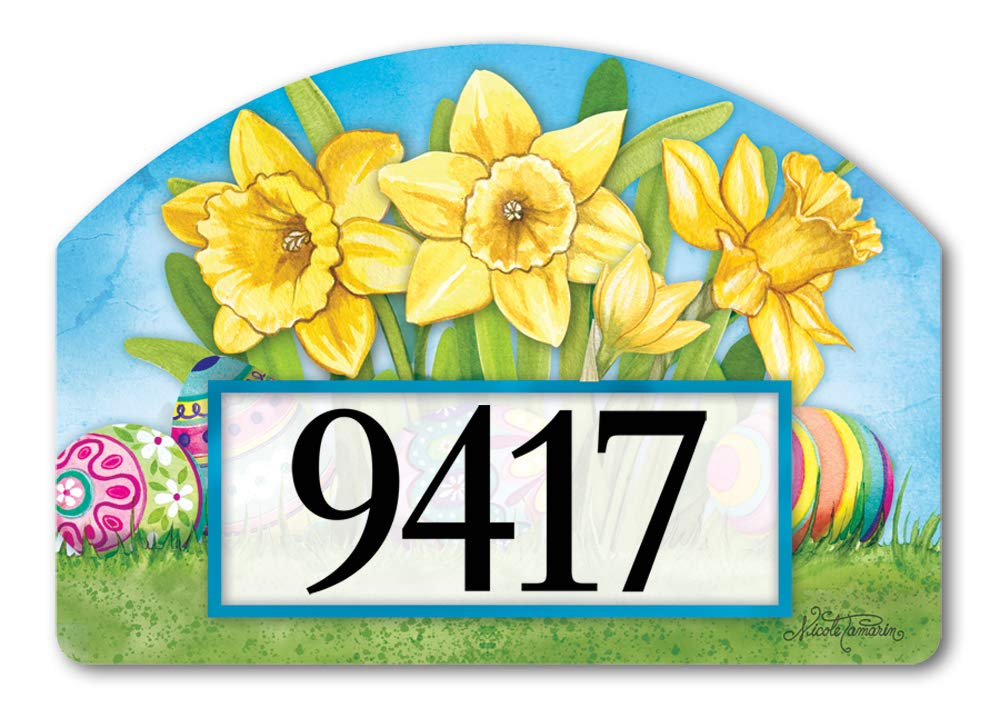 Yard DeSigns Studio M Easter Daffodils Spring Decorative Address Marker Yard Sign Magnet, Made in USA, Superior Weather Durability, 14 x 10 Inches