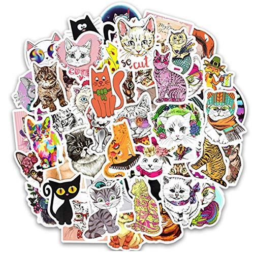50 Pcs Cute Cat Stickers for Snowboard Motorcycle Bicycle Phone Mac Computer DIY Keyboard Car Window Bumper Wall Luggage Decal Graffiti Patches ()