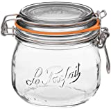 Le Parfait Super Jar - 500ml French Glass Canning Jar w/Round Body, Airtight Rubber Seal & Glass Lid, 16oz/Pint (Pack of 6) Stainless Wire