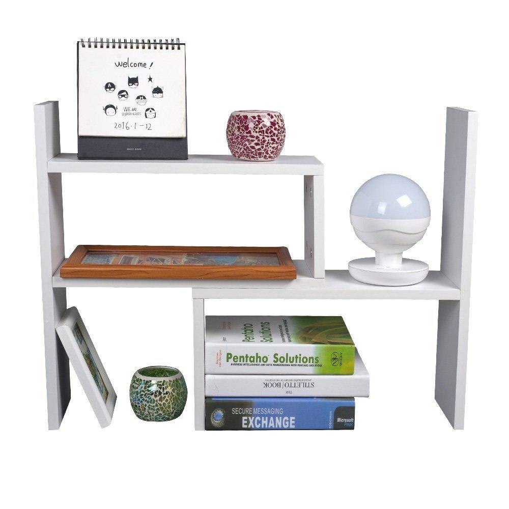 TOP-MAX Desktop Bookshelf Adjustable Desktop Storage Organizer Bookshelf Rack Countertop Bookcase Display Stand Desk Tidy Office Supplies Holder Unit White