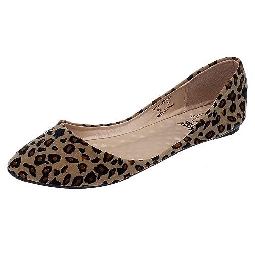fe5434f940e1 Alexis Leroy Women's Sexy Leopard Design Low Top Ballet Flats Shoes (36 M  EU /