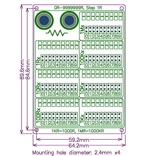 Seven Decade 1R 9999999R Programmable Resistor Board Step 1R 1/% 1//2 Tsn