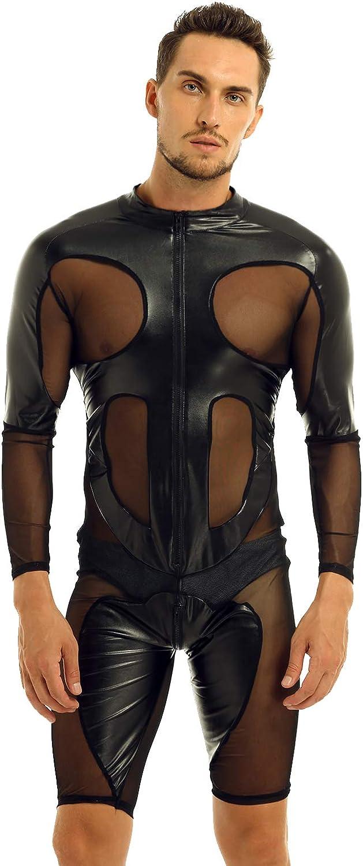 winying Mens Faux Leather Mesh Splice Long Sleeve Zipper Front Leotard Bodysuit Lingerie Jumpsuit Clubwear