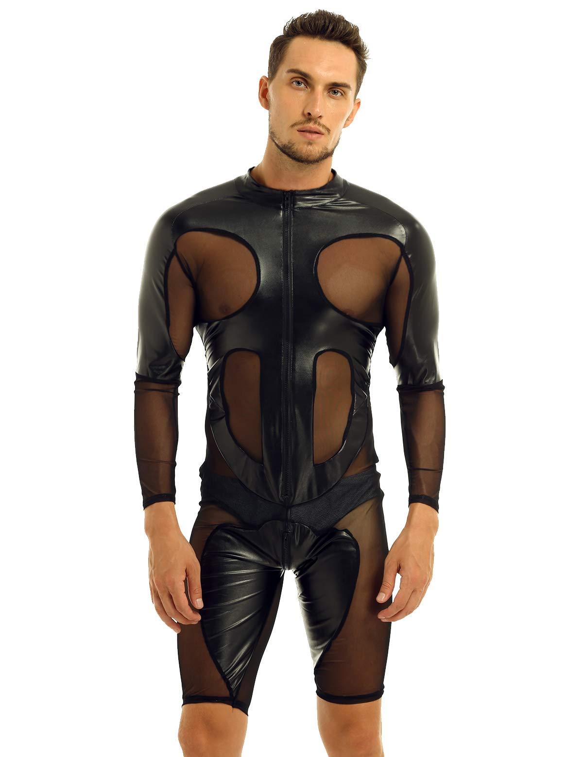 Winying Mens Faux Leather Mesh Splice Long Sleeve Zipper Front Leotard Bodysuit Lingerie Jumpsuit Clubwear Black Xx Large
