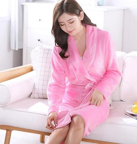 GL&G Batas de baño de franela, Ms otoño casa servicio manga larga suave más grueso