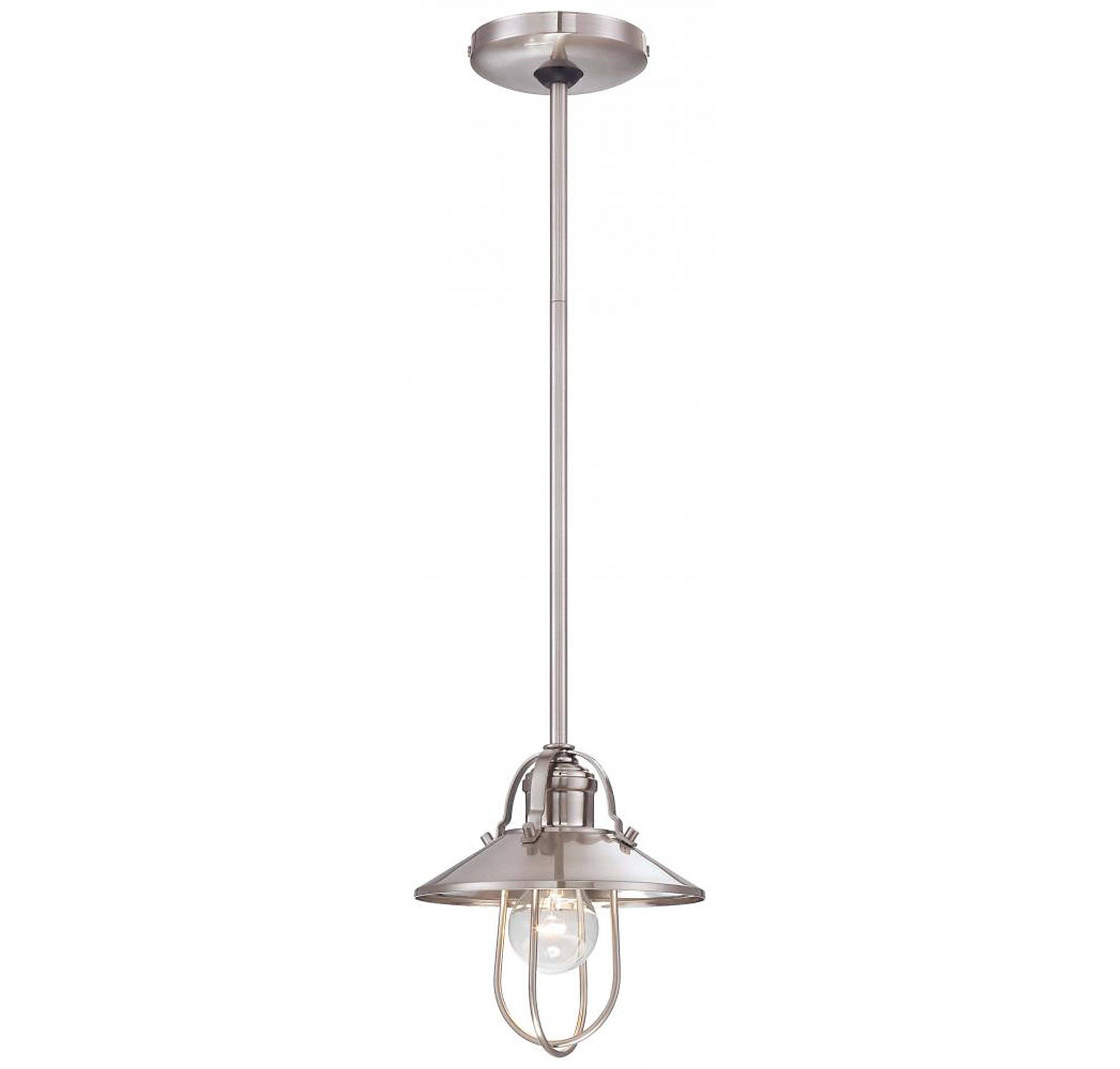 Minka Lavery 2250-84 8'' One Light Pendant, Brushed Nickel Finish with Brushed Nickel Glass with Steel Shade