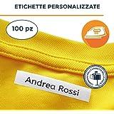Haberdashery Online 100 etichette personalizzate termoadesive con CERTIFICATO ECOLOGICO per marcare nomi da stirare con ferro sui vestiti per bambini, grembiuli, abbigliamento