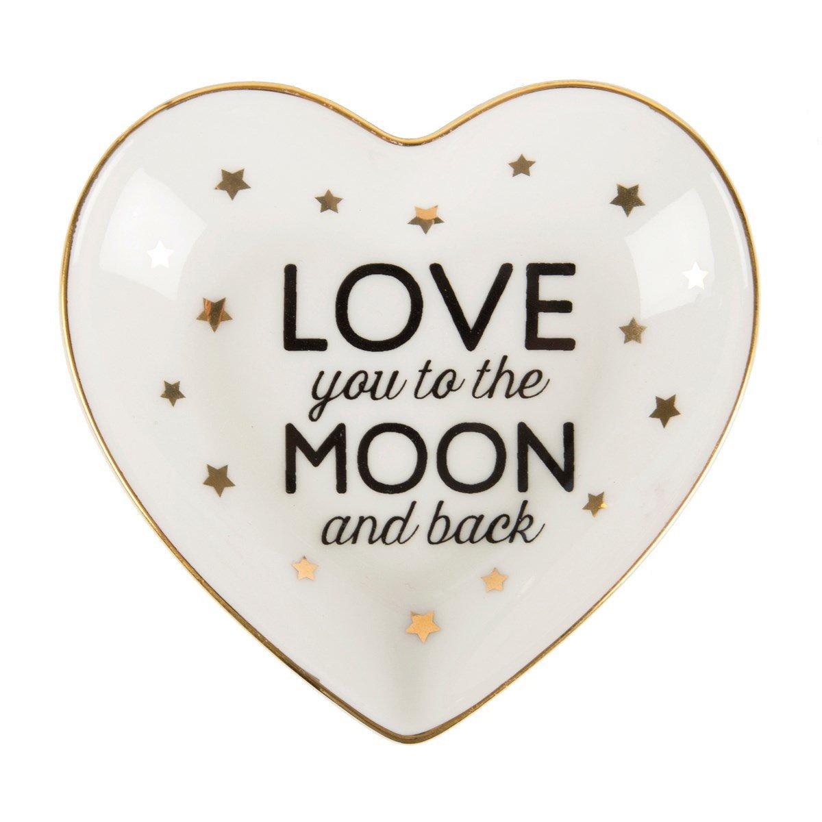 Porzellan Schmuckteller Love you to the moon and back mit goldenen Sternchen sass & belle CHIC006
