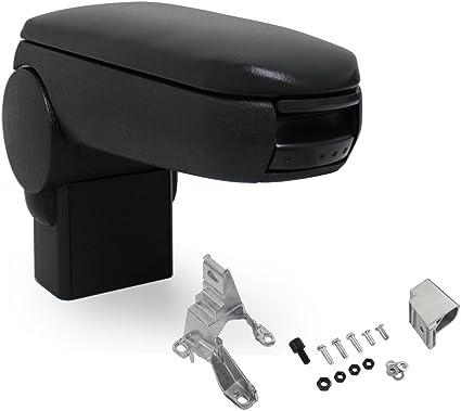 pro.tec] Reposabrazos central - apoyabrazos con compartimento - tapizado - polipiel - negro con costuras de color negro: Amazon.es: Coche y moto