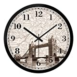 Large Shabby Chic Vintage Style Wall Clock With London Tower Bridge Wall Clock ( Size : 12in )