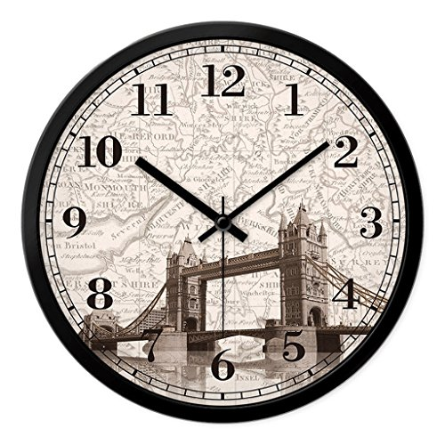 Large Shabby Chic Vintage Style Wall Clock With London Tower Bridge Wall Clock ( Size : 12in ) by Guorihong HW