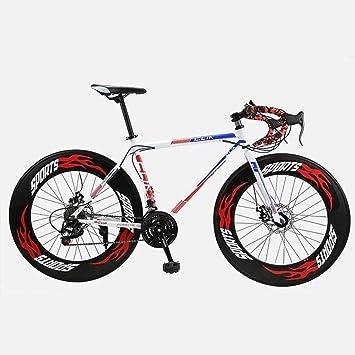MJY Bicicleta de carretera, 26 pulgadas, bicicletas de 27 velocidades, freno de doble disco, cuadro de acero de alto carbono, carreras de bicicletas de carretera, hombres y mujeres adultos 6-20,rojo: Amazon.es: Bricolaje