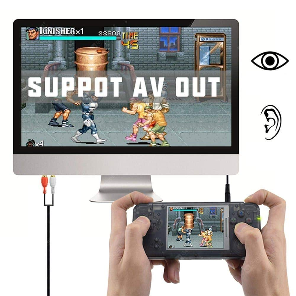 FLYFISH Handheld Game Console , Retro Game Console 16GB 3000 Classic Game Console , 3 Inch HD Screen TV Output Portable Video Game Console , Birthday Gift for Children - Transparent Black by FLYFISH (Image #4)