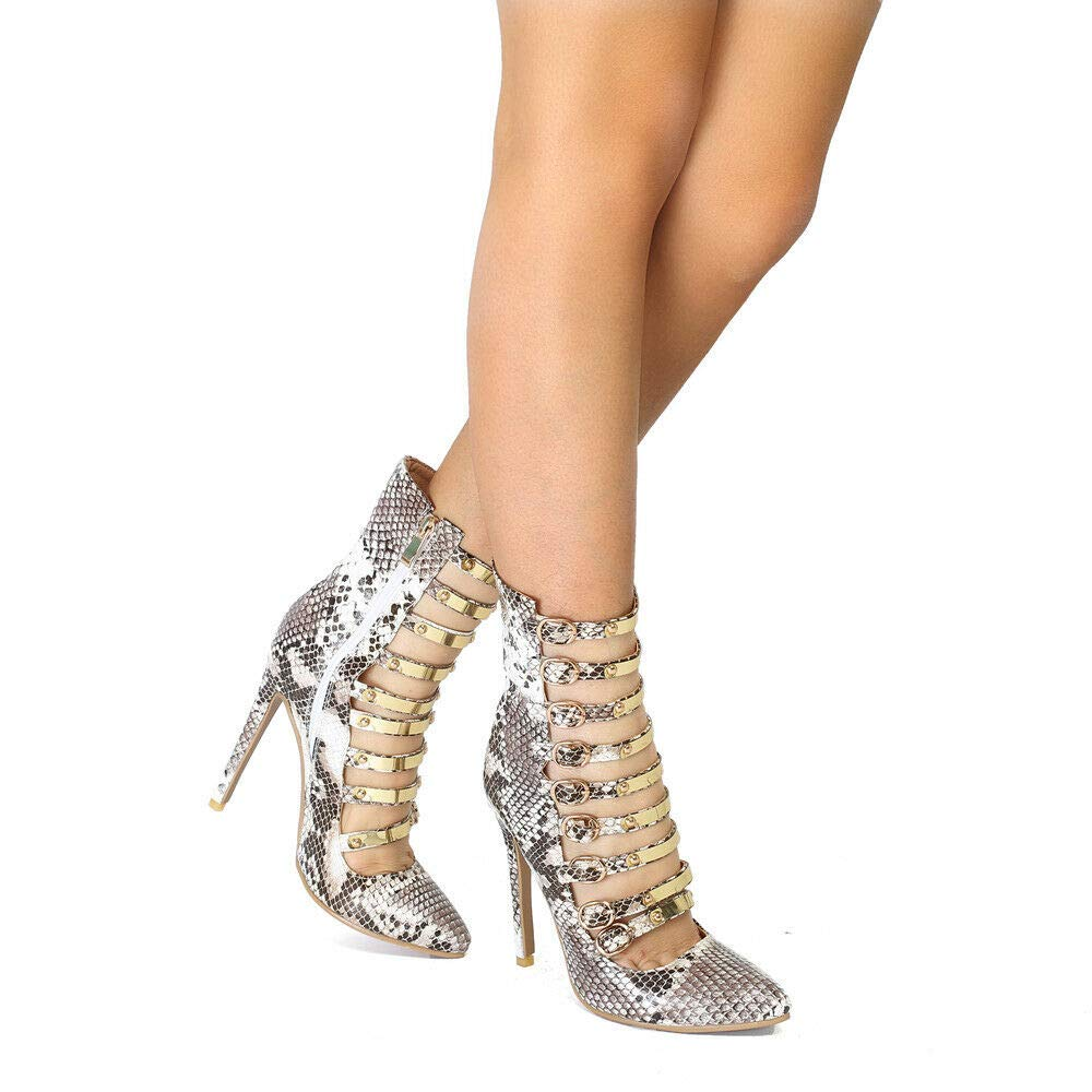 Wunderschöne Damen High Heels flachen Mund Schnalle Reißverschluss Reißverschluss Reißverschluss Schuhe Damen Größe 15 3894f5