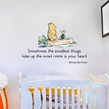 Good Winnie The Pooh Sometimes The Smallest Things Quote Childrenu0027s Room Kids  Room Playroom Nursery Wall Sticker Part 23