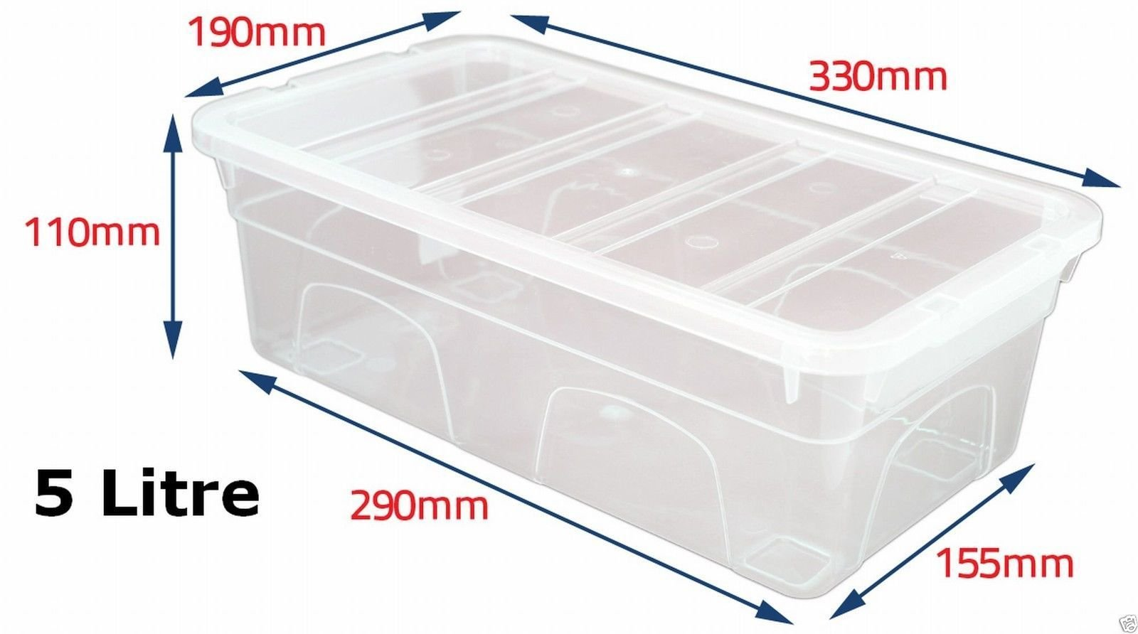 Pack of 5 5 Litre Clear Plastic Storage Box Boxes With Lids. British Made Storage  sc 1 st  Amazon UK & Plastic Storage Tubs: Amazon.co.uk