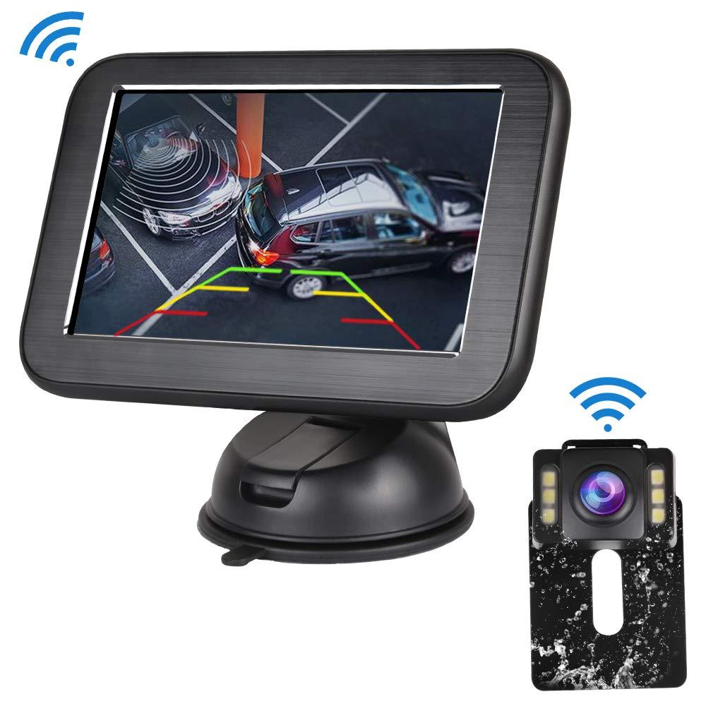 Directtyteam, Kit Telecamera di retromarcia Senza Fili, Impermeabile IP68 con Visione Notturna, Monitor LCD da 5'' e Sistema di Assistenza al parcheggio per Auto, Pickup, SUV