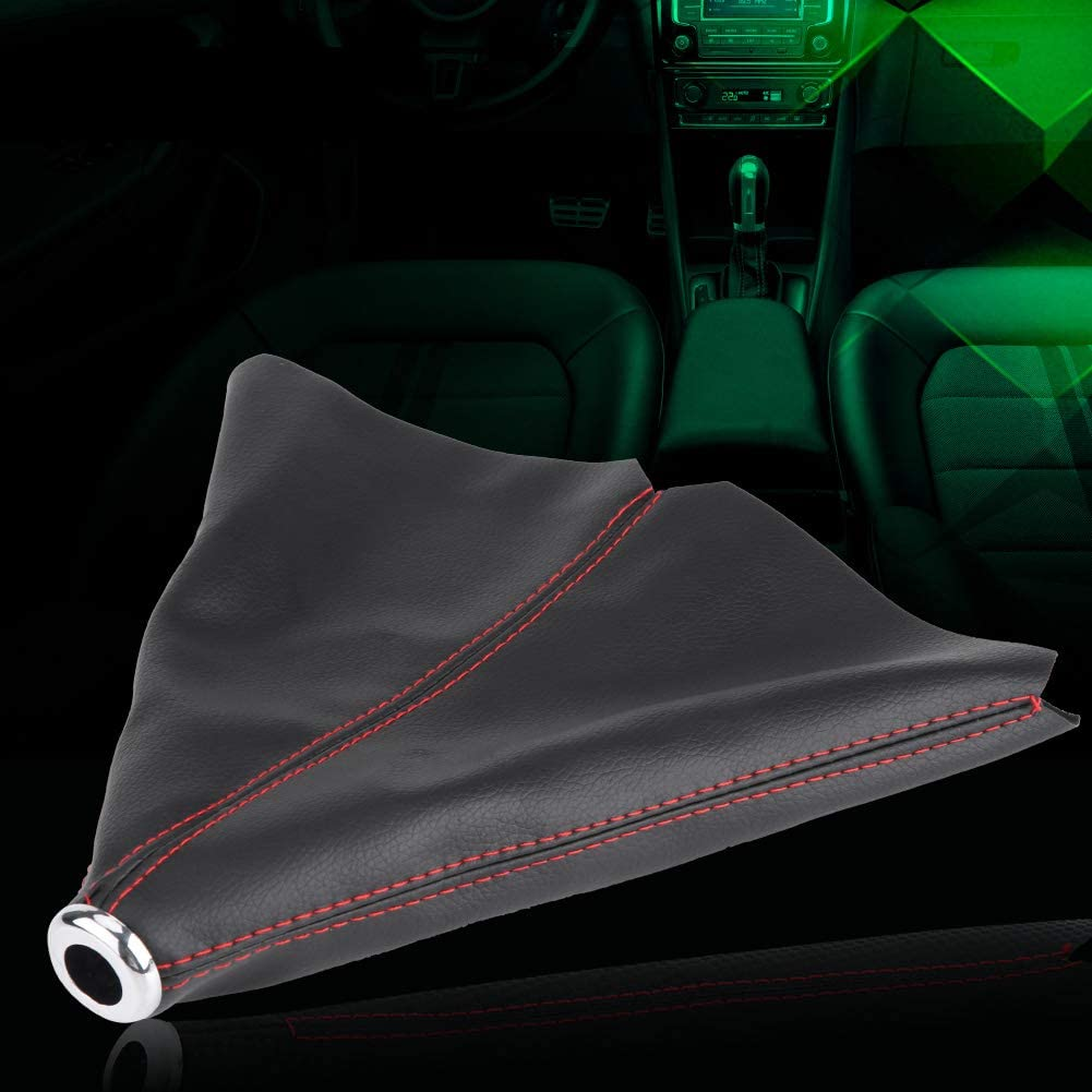 Universal Gear Shift Knob Cover Bright Black PU Leather Car Shift Knob Cover Auto Shifter Shift Boot Cover Red Stitch Gear Gaiter Boot Cover Car Styling
