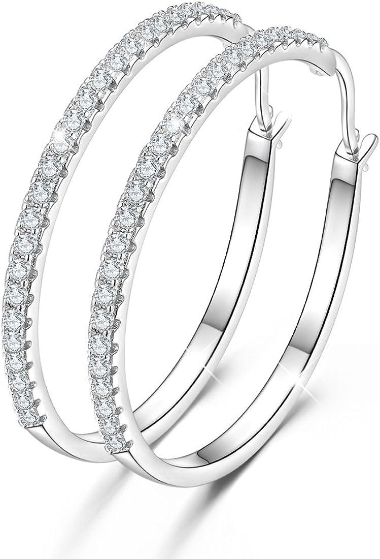 Pendientes de aro redondos de plata de ley 925 con circonitas cúbicas, para mujer