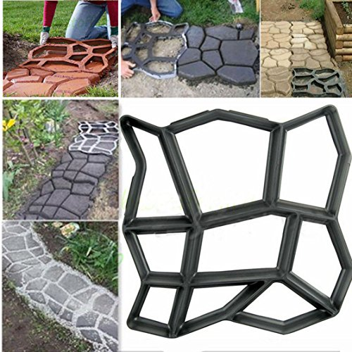 Cobblestone Walkway Maker Patio Garden Path Driveway Concrete Stepping Mold USA, Black (Tiles Depot Patio Rubber Home)