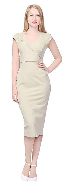 08ddd25cf8a Marycrafts Women s Elegant Pencil Midi Dress Work Office Business 20 ...