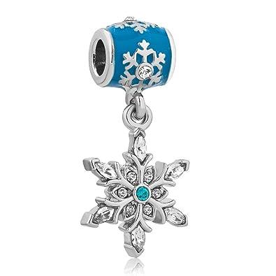 JMQJewelry Snowflake Charms Crystal Bead Bracelets