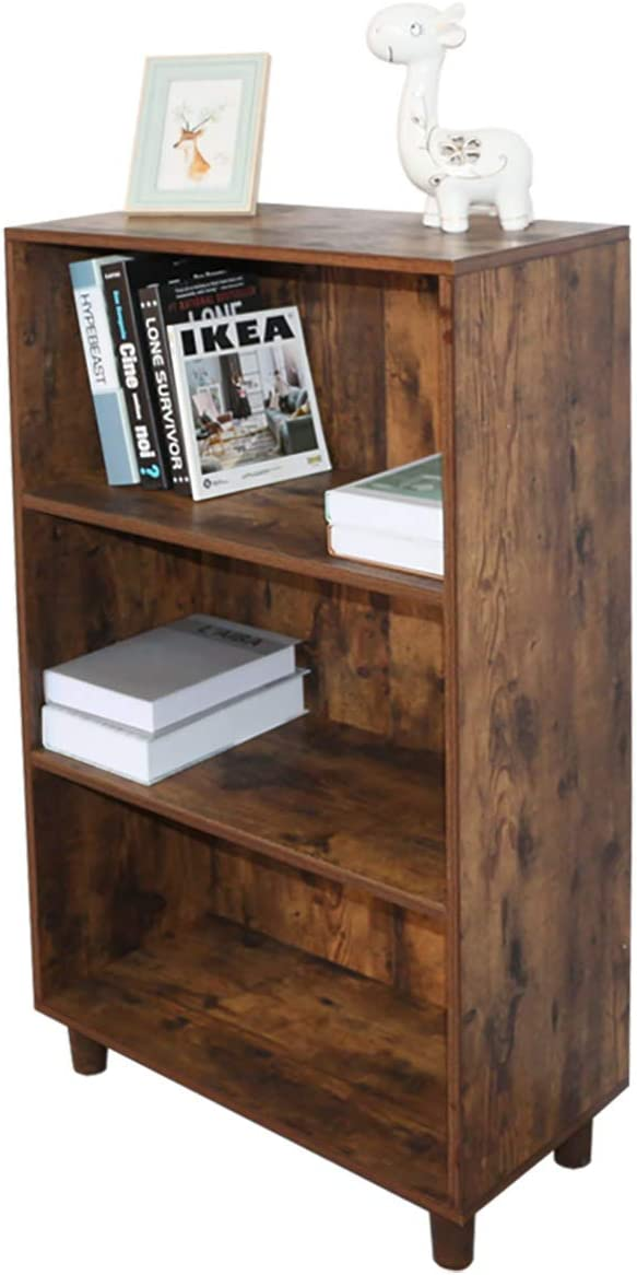 Grafzeal Mid-Century Bookcase 3-Tier Bookshelf, Modern Bookcase Storage Cabinet Rack Shelf for Books Photos Decorations, in Living Room Office Library, Rustic Brown FBCS01X