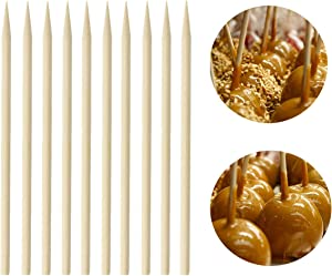 ONLYKXY Thick Bamboo Caramel Candy Apple Sticks, Natural Birch Wooden Corn Dog Cob Hotdog Sausage Meat Skewers for Cake Pops Lollipops Chocolate Fruit, 5.5Inch, 100Pcs