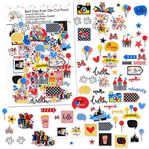 Paper Die Cuts - Best Day Ever - for Disneyland Walt Disney World - Over 60 Cardstock Scrapbook Die Cuts - by Miss Kate Cuttables