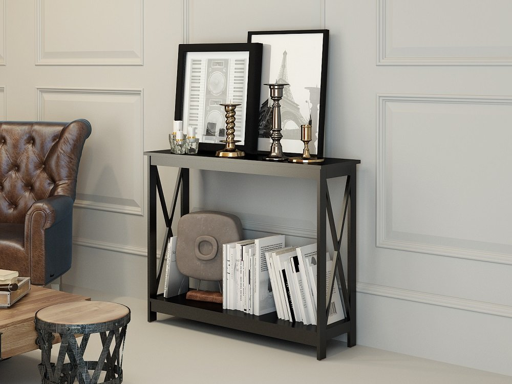 Black Finish 3-Tier X-Design Occasional Console Sofa Table Bookshelf by eHomeProducts
