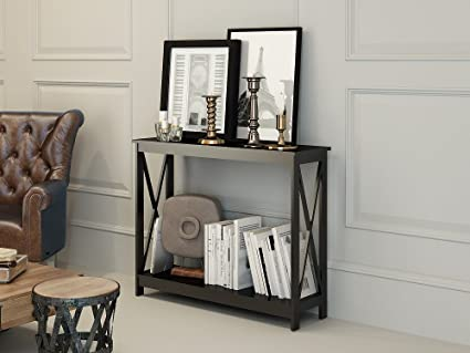 Black Finish 3 Tier X Design Occasional Console Sofa Table Bookshelf