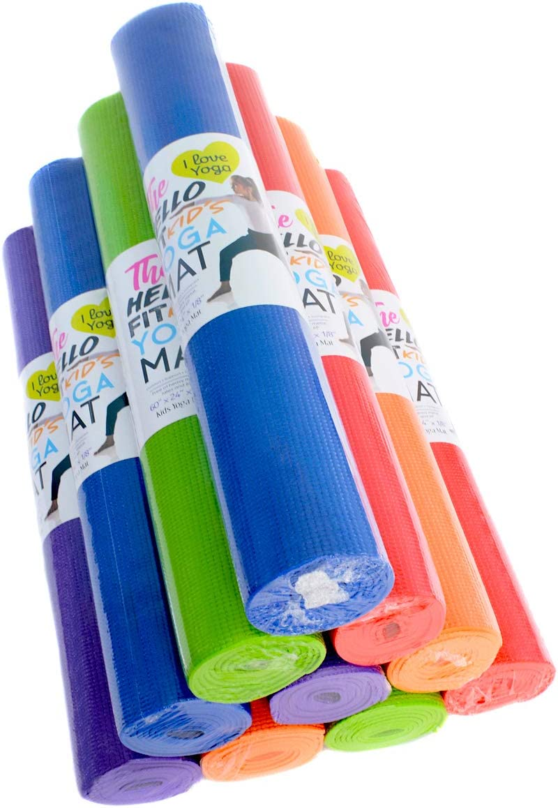 Hello Fit – Kid s Short Yoga Mats – Economical 10-Pack – Nontoxic – Non-Slip – Moisture Resistant