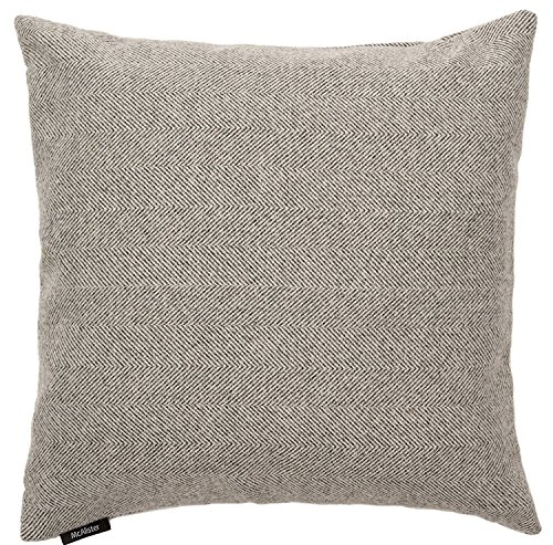 McAlister Herringbone XX-Large Euro Sham Pillow Cover | 26x26 Semi-Plain Charcoal Gray | Plush Wool-Textured Flannel Tweed | Farmhouse Cabin Accent Décor