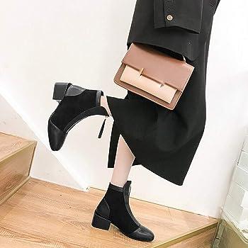 92d11ed6af80 Hunzed Women s Low Heel Zipper Shoes Girl Retro Suede Square High Heel Wild  Boots