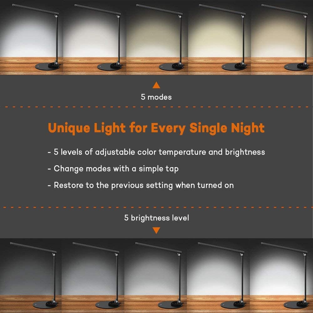 Blendfrei Ultrad/ünne Alu 5 Helligkeitsstufen und 5 Farbtemperaturen-3000K 3500K 4000K 5000K und 6000K General/überholt Merkfunktion LED Schreibtischlampe TaoTronics USB-Ladeanschluss 5V 1A