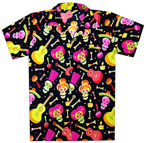 Virgin Crafts Hawaiian Shirt Men Beach Holiday Party Casual Skull Printed Halloween Shirt