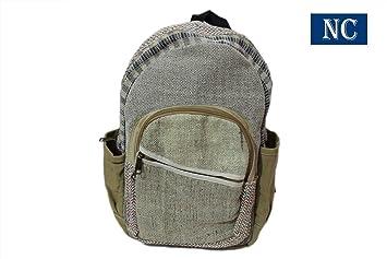 100% Pure cáñamo natural color mochila hecho a mano en Nepal con funda para portátil - diseño de moda viaje Escuela Universidad bolsa de ...