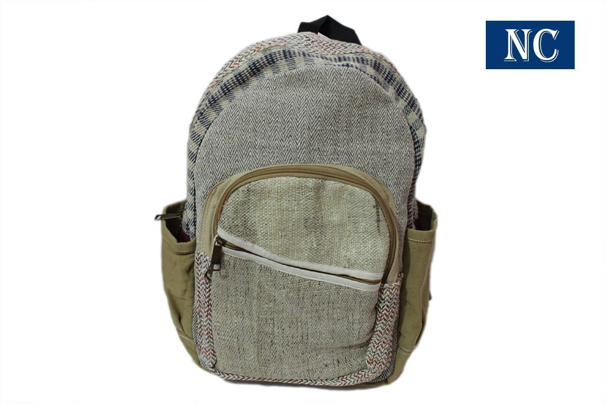 100% Pure Hemp Natural Color Backpack Handmade Nepal with Laptop Sleeve - Fashion Cute Travel School College Shoulder Bag / Bookbags / Daypack