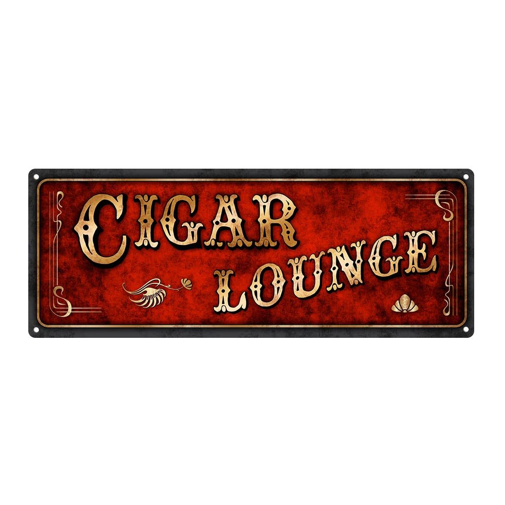 """Homebody Accents ® Red Cigar Lounge Metal Sign, 6""""x16, Art Deco, Vintage, Retro, Game Room, Den, Wall Décor"""