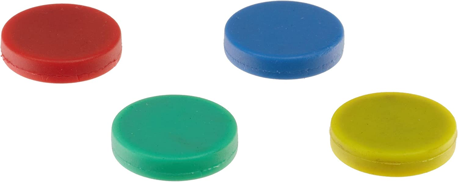Colorful Ceramic Disc Magnets, Rubber Coated, Red, Blue, Green, Yellow (1 of each color)