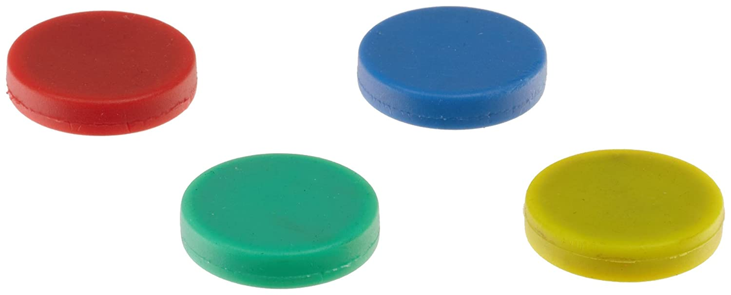 Colorful Ceramic Disc Magnets, Rubber Coated, Red, Blue, Green, Yellow (1 of each color) Magnet Source 07591