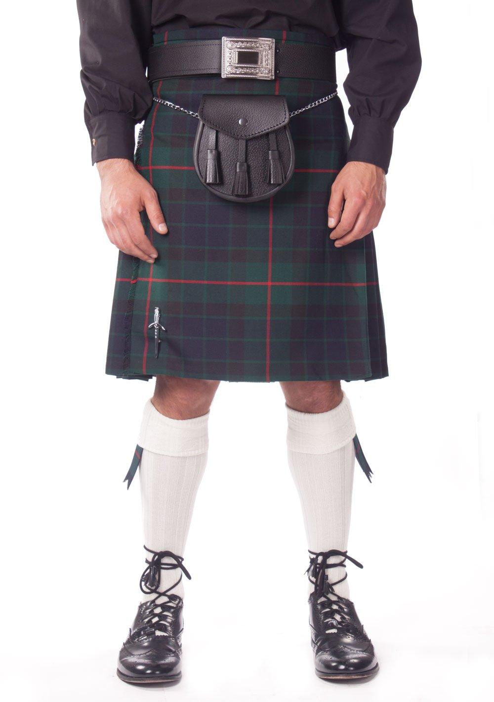 Kilt Society Mens 7 Piece Casual Kilt Outfit- Gunn Tartan with White Hose 46'' to 50''