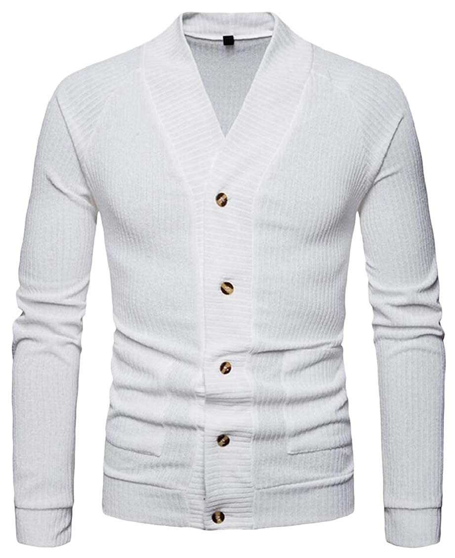 Hokny TD Mens Solid Color Regular Fit Single Breasted Knitting Casual Cardigan Sweaters